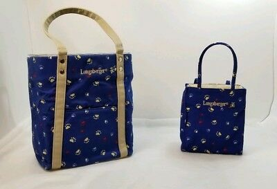 Lot 2 Longaberger Protectors & Embroidered Fabric Paw Prints Tote Bag Dogs Bear