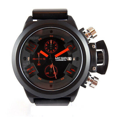 Awesome Black Chronograph Military Steel Sport Welder Diving Style Boat Sub U TW