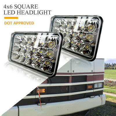2pcs 4x6inch DOT 45W Square Led Headlight Hi-Lo Seal Beam for Kenworth T600 T800