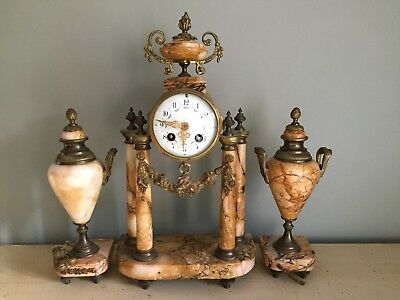 French Marble Mantel Clock Set