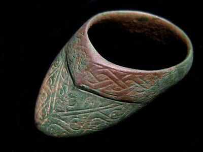 Extremely Rare Huge Roman Archer'S Ring, Top Decoration+++