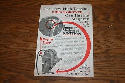 1915 High Tension Inductor Type Oscillating Magneto Advertising Sales Literatur