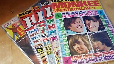 Vintage 16 Magazine   The Monkees  Tiger Beat  Set of 5  all very nice