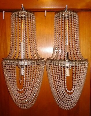 Antique Vintage Mid Century Wall Sconces Pair Beaded Swag Crystals Metal Ornate