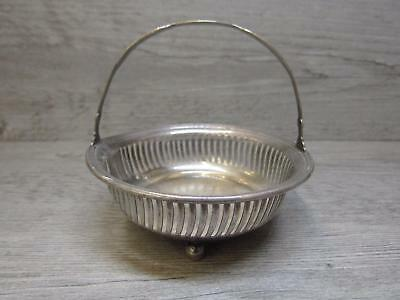 Vintage Hallmarked Sterling Silver Small Handled Basket Candy Nut Dish