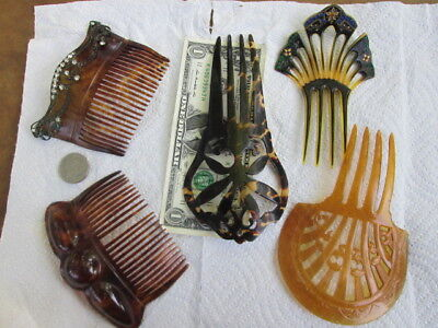 """5 faux tortoise shell hair combs, 2 with rhinestones. 4"""" up to 6 1/2"""" tall"""