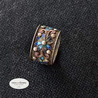 Vintage Chinese Export Sterling Silver Enamel Ring with Flowers SIZE 6