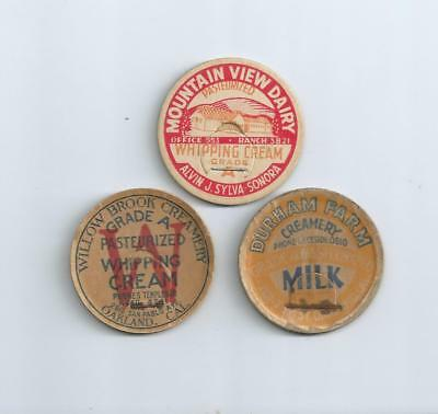 "Three different ""California""  milk bottle caps.  #3"