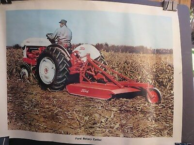 """Vintage 1950 Ford  Farm Tractor Rotary Cutter Sales Poster 24"""" by 18"""""""