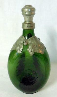 Stickley Era Arts & Crafts Pewter Art Glass Pinch Bottle Decanter Denmark
