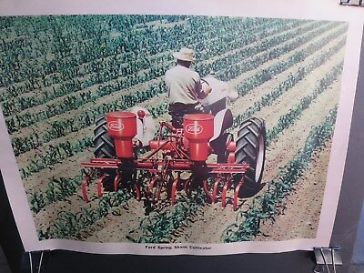 """Vintage 1950 Ford  Farm Tractor Spring Shank Cultivator Sales Poster 24"""" by 18"""""""