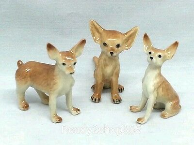 Chihuahua Dog Figurine Ceramic Miniature Animal Hand Painted Collectible Brown