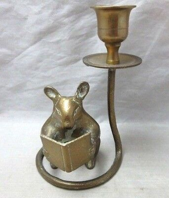 Brass mouse reading a book candle holder