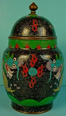 Antique Chinese Cloisonne Enamel On Copper 'Facing Dragons' Covered Jar