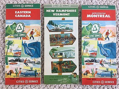 3 Lot 1950's Cities Service Gas OIL Vintage Road Map Montreal Canada NH Vermont