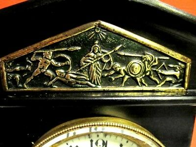 "Beautiful Antique Ansonia ""NOIRE"" Iron (6) Six Pillar Time & Strike Mantle Clock"
