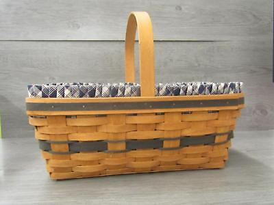 Longaberger 1993 Easter Basket W. Patriot Color Fabric Liner and Protector