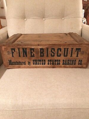 Vintage Fine Biscuit Advertising Wooden Box United States Baking Co. Lenox