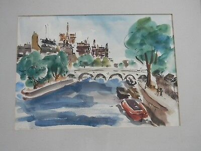VINTAGE WATERCOLOR PAINTING PARIS RIVER SEINE by STEPHANIE CANIZARES Dated 1961