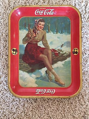 Authentic Coke Coca Cola 1941 Ice Skating  Advertising Serving Tin Tray