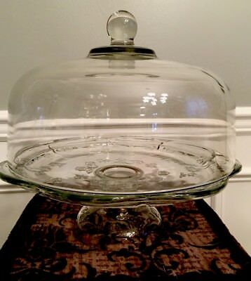 Beautiful Vintage Floral Glass Cake Stand With Dome Lid, Cake Dish, Pedestal
