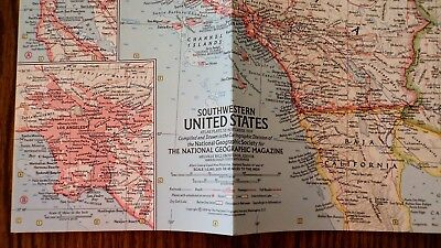 VINTAGE THE SOUTHWESTERN UNITED STATES MAP National Geographic June ...