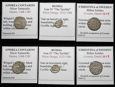 MEDIEVAL. Lot of 3 Silver/Billon coins, Sweden (Livonia), Russia, and Venice