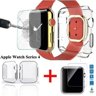 For Apple Watch Series 4 Tempered Glass Screen Protector Soft TPU Case 40mm&44mm