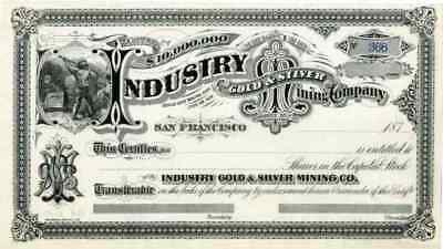 187_ Industry Gold & Silver Mining Stock Certificate