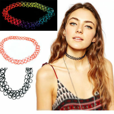 3pcs Necklace Charm Vintage Elastic Choker Stretch Gothic Punk Tattoo Cool Retro