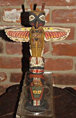 1928 hand painted carved folk art totem pole seattle washington dated aafa