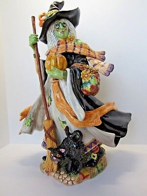 Fitz & Floyd ~ HALLOWEEN HARVEST ~ LARGE WITCH FIGURINE ~ Perfect Condition!