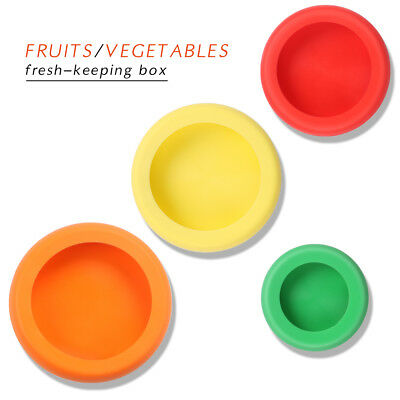 4pc Silicone Food Fruit Vegetable Freshware Stretch Useful Lid Cover Saver #TC