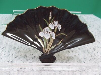 Pre-owned,Vintage Porcelain Black Fan Shaped Dish - Iris Flowers - Made in Japan