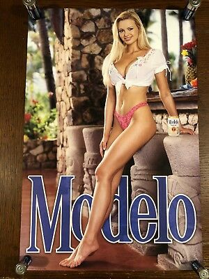MODELO BEER POSTER With Blonde Girl. Barton Beers Ltd. Chicago. Free Shipping!