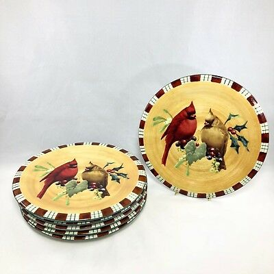 "Lenox Winter Greetings Everyday Cardinal Salad Plates 8 1/2"" Set of 6"