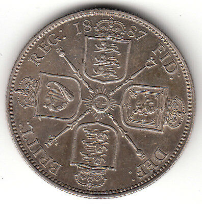 Great Britain 1887  Florin (Two Shillings)  AU  .925 silver