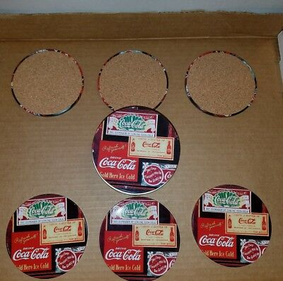 New Set of 6 Coca-Cola Metal & Cork Coasters in Metal Tin