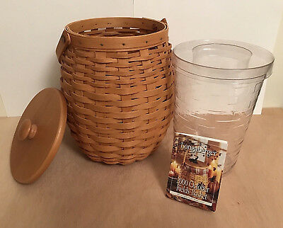 2000 Longaberger October Fields Basket 2-pc. Insert Protector Sm. Fruit Wood Lid