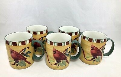 Lenox Winter Greetings Everyday Cardinal Mugs Cups Set of 5