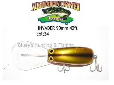 Australian Crafted Lures- cod 90mm invader gold carp col;34  40ft a.c.lures