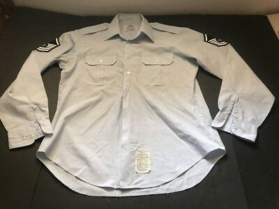 USAF US Air Force Military Dress Blue  Long Sleeve Shirt w/patches Sz 17 x 39