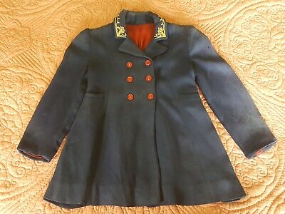 1940s Vintage Boy's Coat-Navy-Embroidered Collar-Double Breasted-