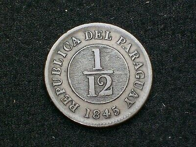 Paraguay 1845 - 1/12 Real / Lion, Nice Condition