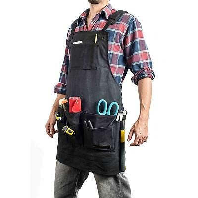 EVERPRIDE 11 Pocket Black Waxed Canvas Work and Tool Apron (Heavy-Duty)