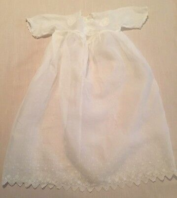 VTG SHEER WHITE CHRISTENING GOWN DRESS w/ LACE, EMBROIDERY, SCALLOPED EDGES