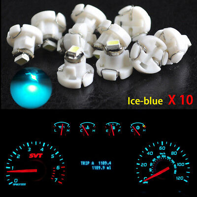 10pcs Ice Blue T4.2 Neo Wedge 1-SMD LED Cluster Instrument Dash Climate Bulb