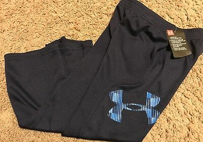 Under Armour Boys Athletic Pants 4T Navy/Blue Logo NWT!