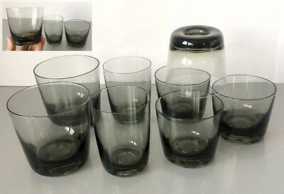 Vintage 1950's ORREFORS Sweden 'KARL' 8 x SMOKED OLD FASHIONED GLASSES - RARE