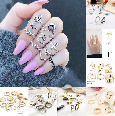 12PCS Retro Vintage Carved Personalized Tail Alloy Rings Combination Rings Gift